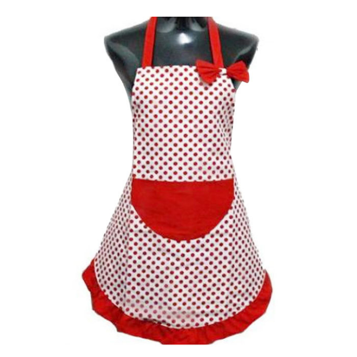 Delicate New Cute BowKnot Kitchen Restaurant Cooking Aprons With Pocket for Women Hot Selling(China (Mainland))