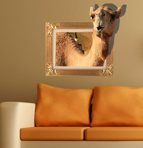 Free Shipping camel 3d printer removable wallpaper wall mural sticker decoration art decals vinyl stickers home decor 63*58cm(China (Mainland))