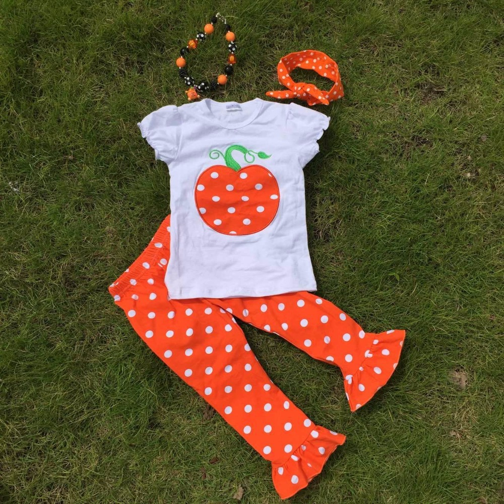 Short sleeves Halloween girls pumpkin print  pant ruffle kids boutique outfits  girls suit  with matching necklace and headband(China (Mainland))