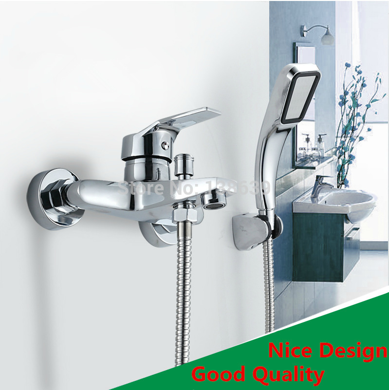 Free shipping Wall Mounted single handle Shower Mixer faucet, Brass chrome polish rainfall shower set faucets,Christmas gift(China (Mainland))