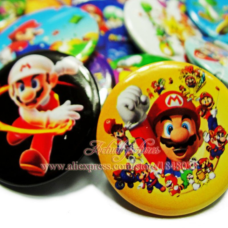 9pcs/lot Super Mario Game Figure Round Brooch Pinbacks Badge Holder Accessories For Bag Children Birthday Party School Supplies(China (Mainland))