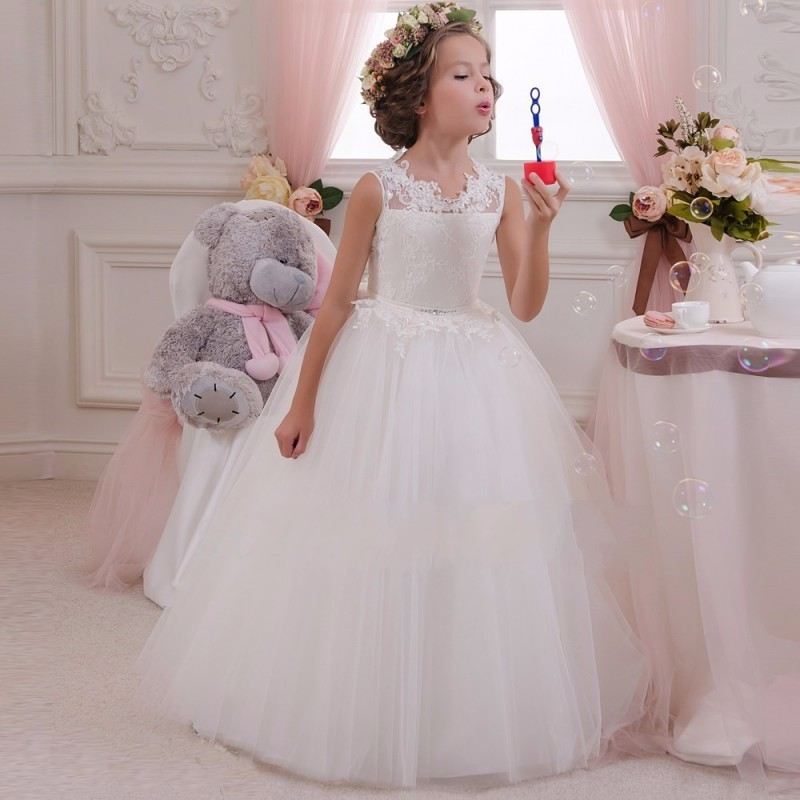 2016 Lovely White Princess Flower girl dresses Tulle Appliques Cheap Ball Gown Pageant little girls - FLD Wedding Dresses store