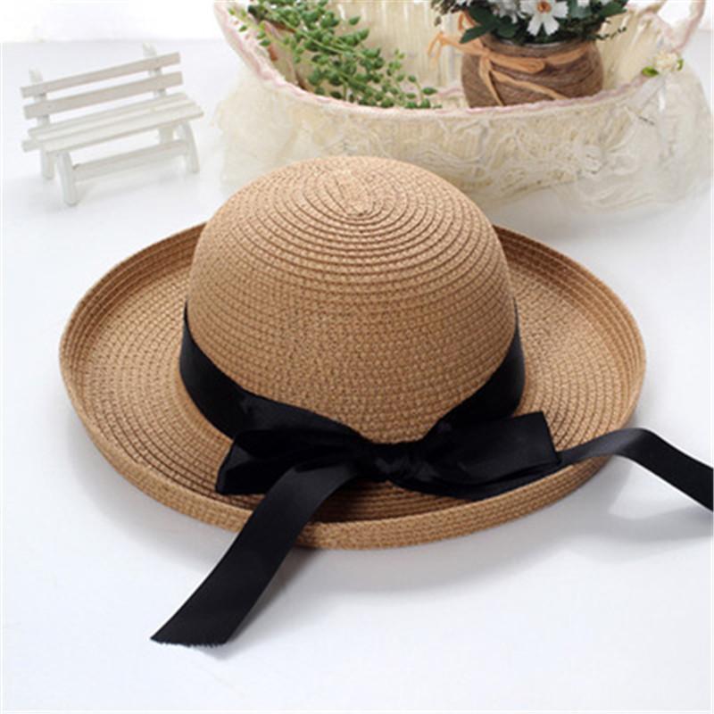 Big Bowknot Beach Straw Sun Hat 2016 New Women Foldable Summer Hawaii Sun Hats Trilby Fedora Style Straw Wide SunCap For Travel(China (Mainland))