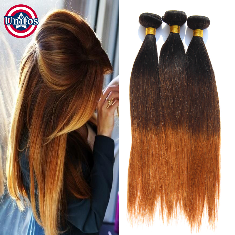 Peruvian Virgin Hair Straight Ombre Hair Extensions Three Tone Ombre Peruvian Hair Straight 3 Bundles 3 Toned Ombre Straight 100