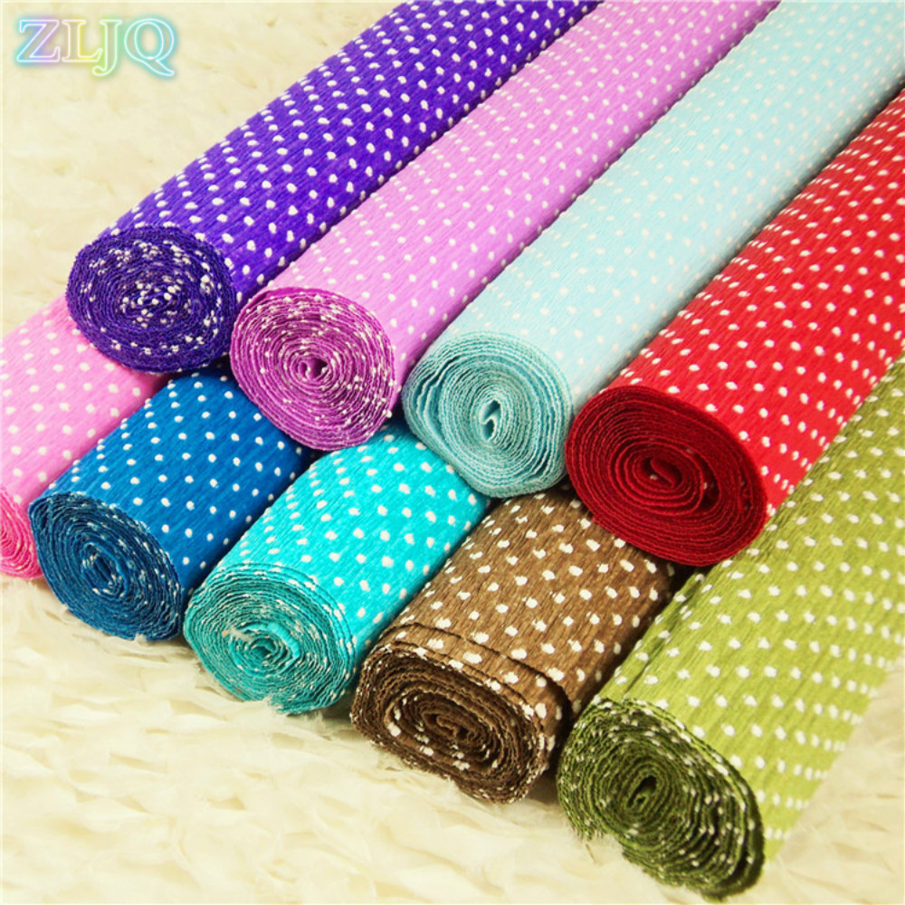ZLJQ 1 Roll 50cm*2.5m Crepe Paper White Polka Dot Design for Baby Shower Decoration Christmas Party DIY and Craft Projects 6D(China (Mainland))
