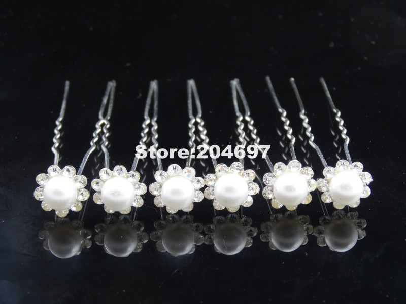 Wholesale 200pcs Faux Pearl Crystal Hair Pin Fashion Pretty Bridal Hairpin Wedding Jewelry Hair Ornaments & Accessories