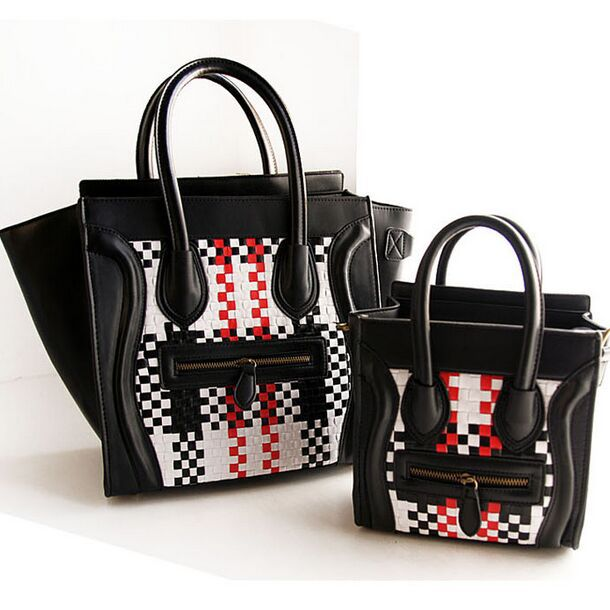 European & America Retro Smiley Luggage Tote Bags Fashion Knitting Patchwork Women Handbags Phantom Bag Top Leather Shoulder Bag(China (Mainland))