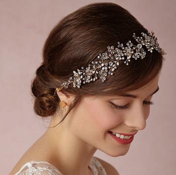 wedding romantic crystal rhinestone flower handmade hairband bride high quality bridal vintage hair accessories