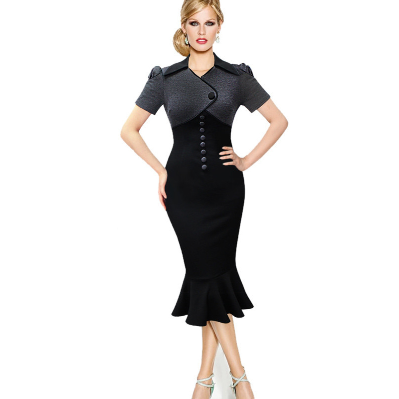Uk 2016 Women Vintage Mermaid Black Office Dress Summer