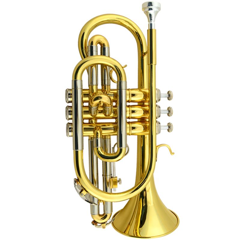 Free shipping Bb Brass Cornet Gold lacquer B flat Trumpet cornet musical instrument Corneta trompete trumpeter bugle hard case(China (Mainland))