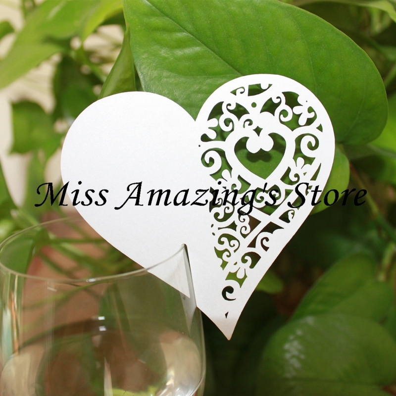 50* Laser Cut Heart Wine Glass Card Name Place Cards Wedding Bridal Baby Shower Table Dinner Party Decorations(China (Mainland))
