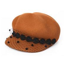 Весенне-зимний женский Французский Берет Кепка шерстяные фетровые шляпы осенние ретро элегантные женские шапки Newsboy теплая шляпа серый чер...(China)