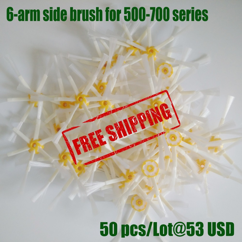 50pcs/lot 6-arm side brush for irobot Roomba 560 640 770 780 790 series Vacuum cleaner(China (Mainland))