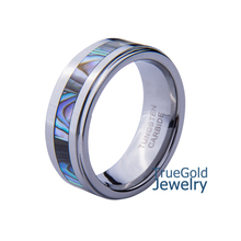 Natural Colorful Abalone Shell  Inlaid 8mm Men's Tungsten Carbide Ring for Women Wedding Band Alliance Jewelry  Size 7-14 TU012R(China (Mainland))