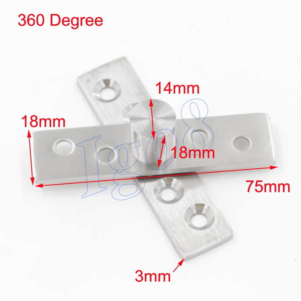 4PCS Stainless Steel Door Pivot Hinges 75mmx18mm 360 Degree Install up and down(China (Mainland))