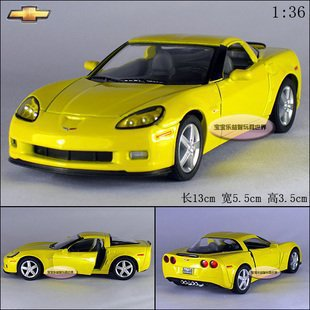 NEW 1:36 Chevrolet 2007 CORVETTE Z06 Alloy Diecast Model Car Yellow B384(China (Mainland))