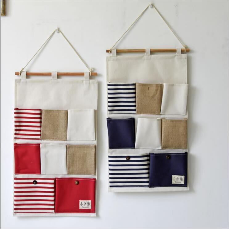 hanging office organizer. 8 pockets portable toy stifching storage bag cotton and linen office bedroom wall pocket ecofriendly hanging organizer b