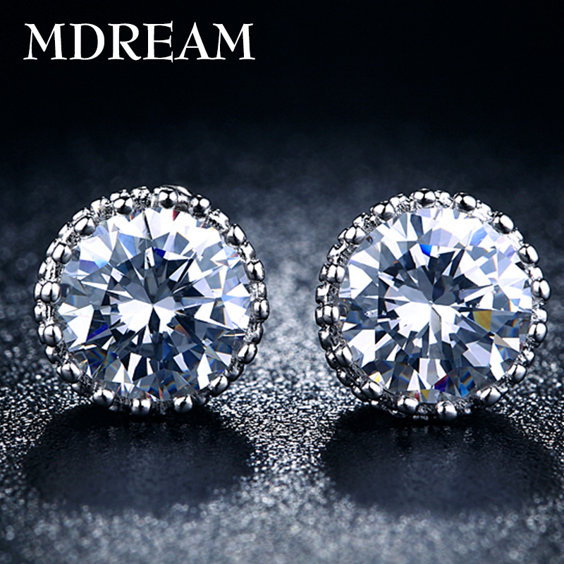 70% silver Crown Stud Earrings Fashion white gold filled jewelry for women vintage wedding earrings 2016 New Arrived MSE001(China (Mainland))