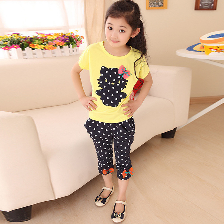 Girls summer casual clothes set children short sleeve cartoon T-shirt + short pants sport suits 2016 girls clothing set for kids(China (Mainland))