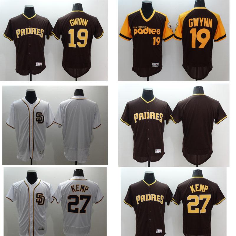 Mens Flexbase Version #19 Tony Gwynn #27 Matt Kemp # Blank Jersey shirt Color White Throwback Jerseys(China (Mainland))