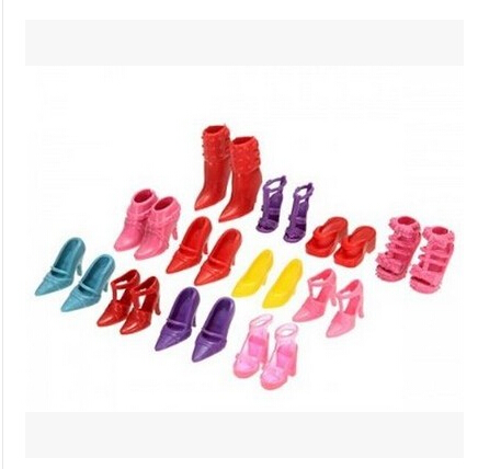 48pcs /set Slap-up Fashion High-Heeled Shoes For Barbies Dolls Furniture Colorful Accessories PCV Shoes For Girls Kids Toys(China (Mainland))