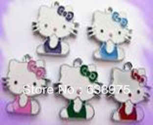 100pcs Glass Hello kitty style Hang Pendant Charm Zinc alloy fit necklace cell phone charms(China (Mainland))