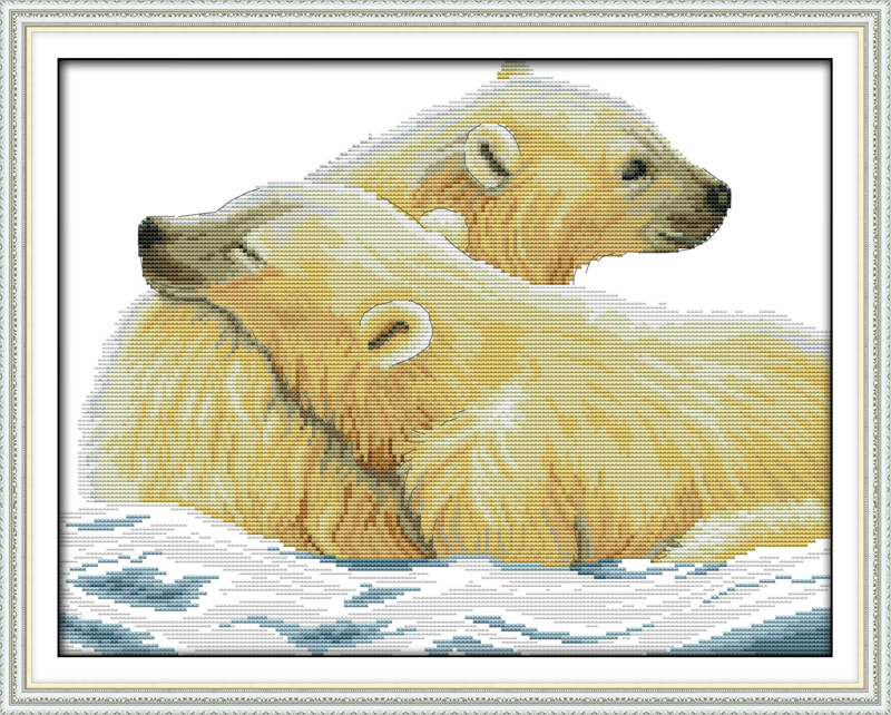Polar Bear and His Cub Counted Cross Stitch 11CT Printed 14CT Cross Stitch DIY Cotton Cross-stitch Kit Embroidery Needlework(China (Mainland))