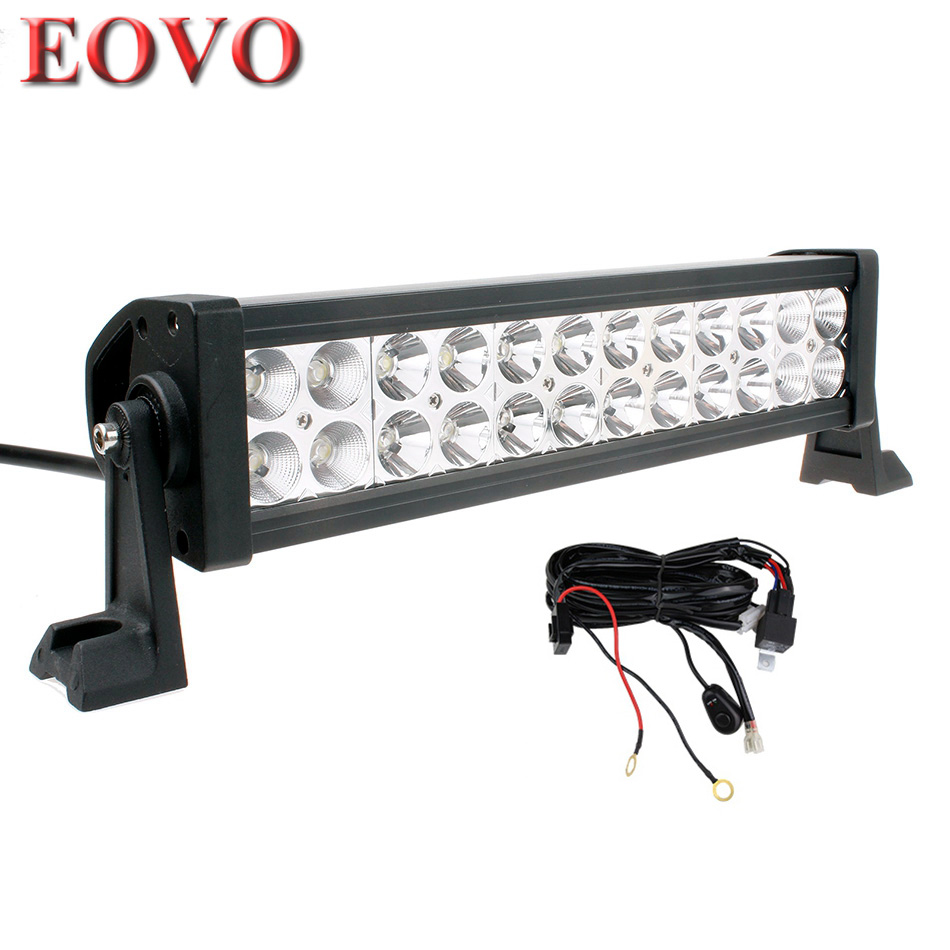 12 Inch 72w Led Light Bar   Switch Wiring Kit For Off Road