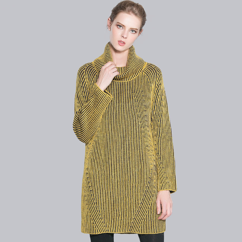 POKWAI High Quality Brand Warm Thick Casual Knitted Sweater Women Long Sleeve Turtleneck Striped Winter Sweaters And Pullovers(China (Mainland))