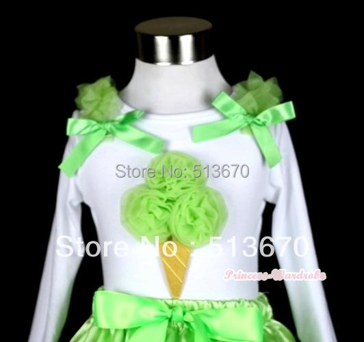 White Pettitop with Light Green Ice Cream Print With Light Green Ruffles& Light Green Bows MATB239(Hong Kong)