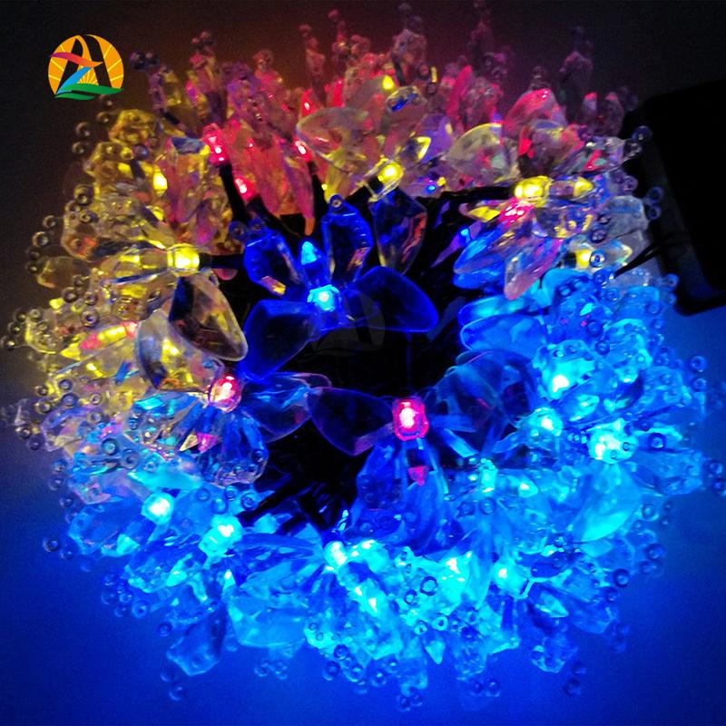 12m 100L Novelty Decor. Multicolor Solar LED String Lights Outdoor Garden Rose Cherry Lotus Animal Wedding Decoration Lightings(China (Mainland))
