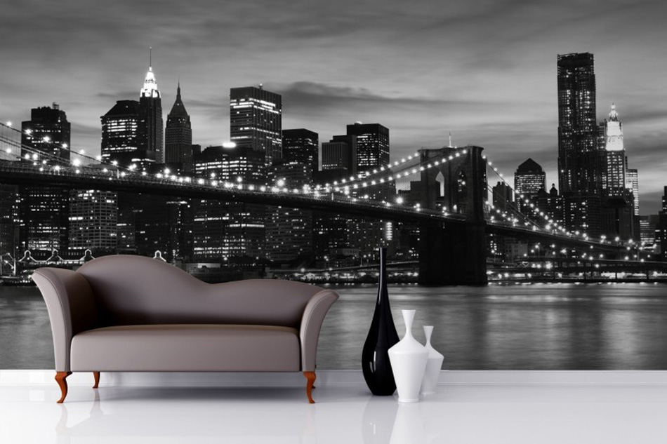 2016 mural brooklyn black white wallpaper mural walls for Black and white london mural wallpaper