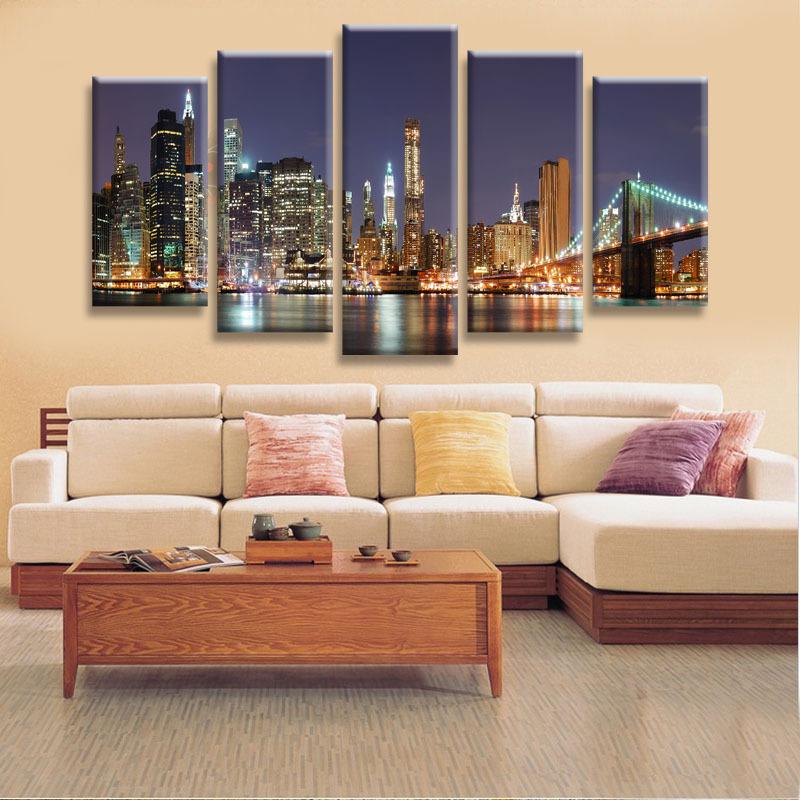 High Quality 5 Panels Home Decor Wall Art Painting Prints of Manhattan Brooklyn Bridge Artwork Custom Sale--Modern City Painting(China (Mainland))
