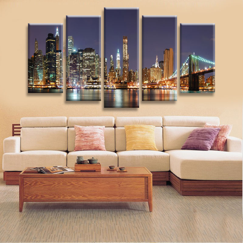 High Quality 5 Panels Home Decor Wall Art Painting Prints of Manhattan Brooklyn Bridge Artwork Custom Sale--Modern City Painting(China (Mainland))