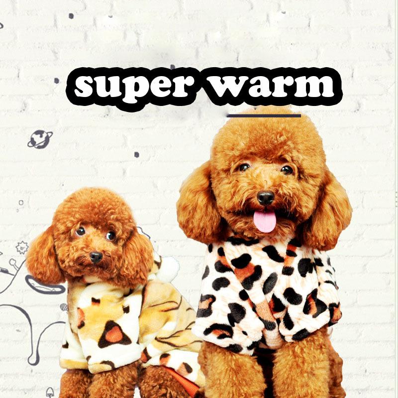 Dog winter coat pet warm small dog clothes jacket Fleece Leopard Print dog pet cat tiger Costume Coat Jumpsuit jumpers Hoodie(China (Mainland))