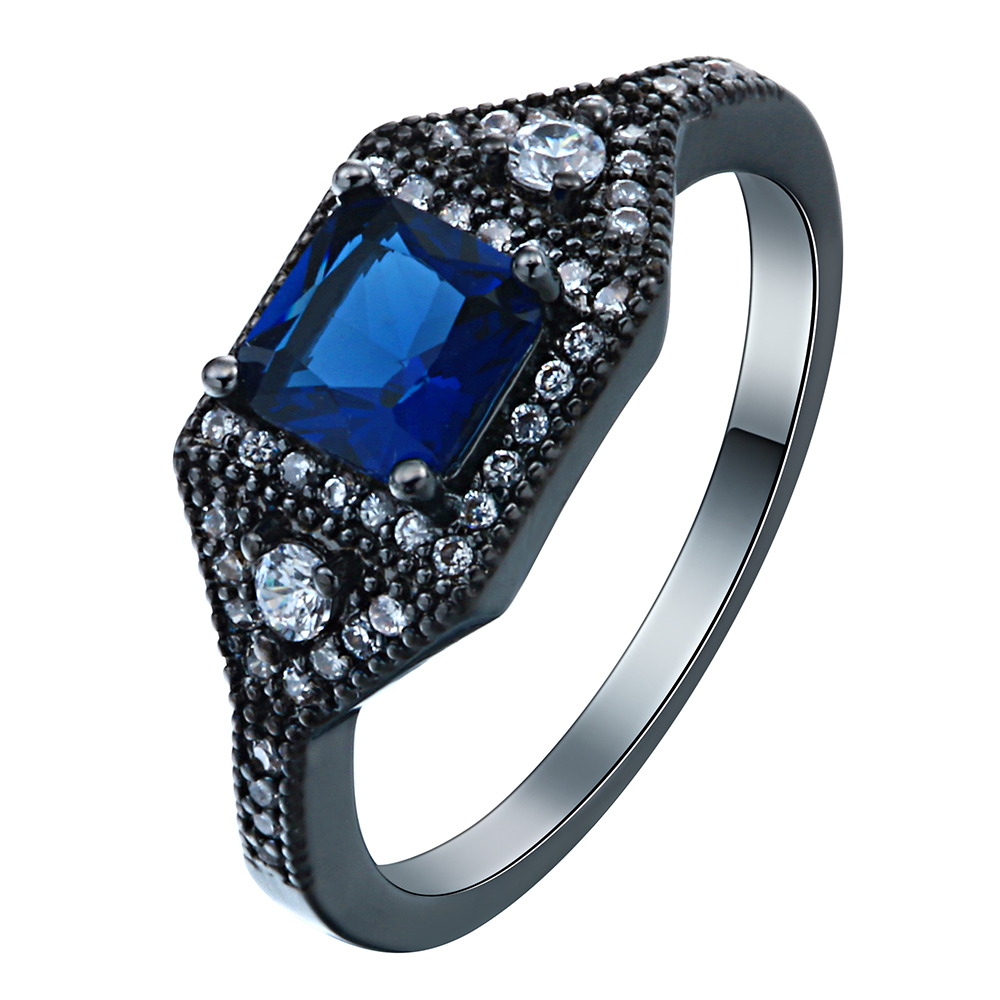 fashion black gold plated finger Rings paved blue green red white crystal new design wedding Engagement Ring for women(China (Mainland))