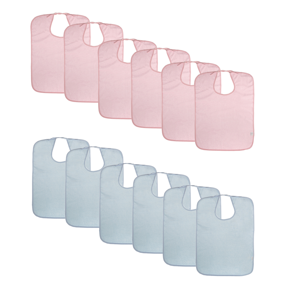 12pcs Adults Terry Towel Mealtime Cloth Bib Protector Apron Waterproof Reusable Washable