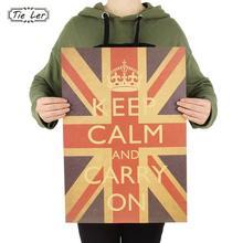 TIE LER Keep Calm Carry On British World War II Kraft Paper Retro Poster Decoration Wall Sticker 51.5x36cm(China (Mainland))