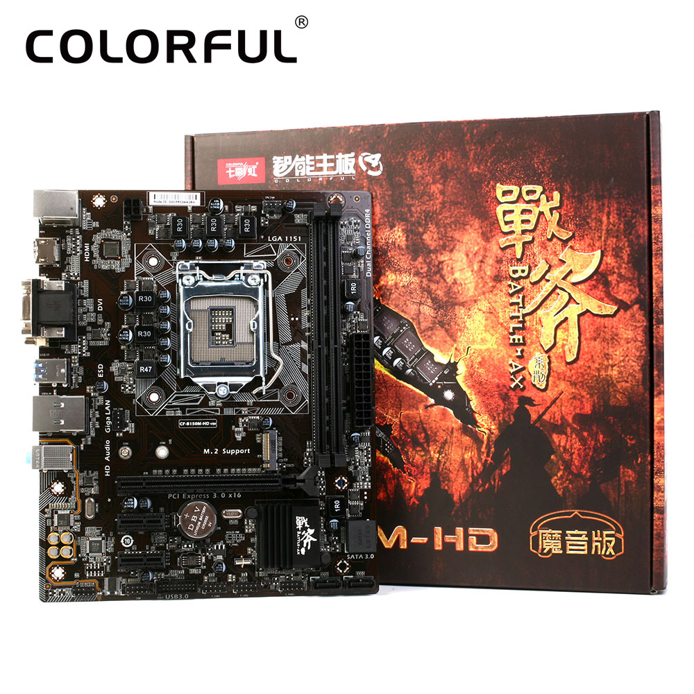 Colorful Mainboard Motherboard Battle AXE C.B150M-HD V20 for Intel B150 LGA 1151 SATA 6Gb/s USB 3.0 Gaming DDR4 mATX Desktop LOL(China (Mainland))