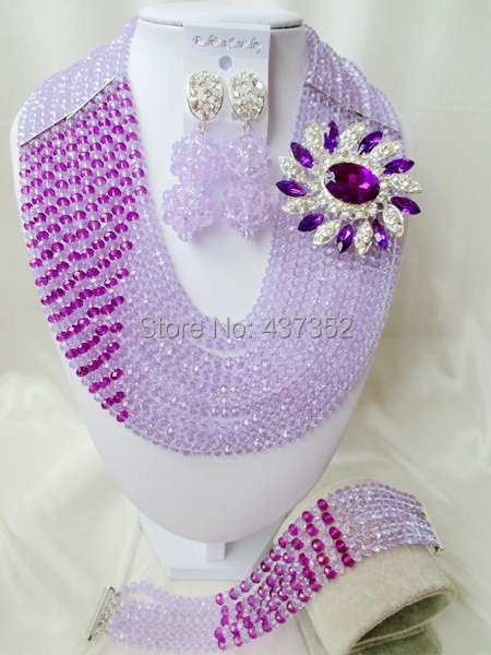 Well Made Lilac mixed Purple Crystal Costume Necklaces Nigerian Wedding African Beads Jewelry Sets Free shipping NC706(China (Mainland))