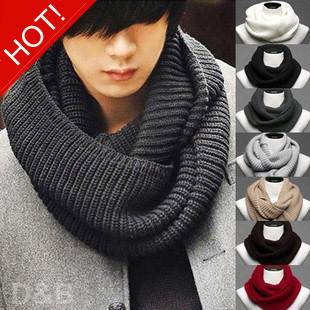 New Fashion Cotton Men's Scarf/Shawl/Wrap,Casual Warm Cashmere Knitting Man Ring Scarf Suit Spring Autumn Winter GJ4466(China (Mainland))