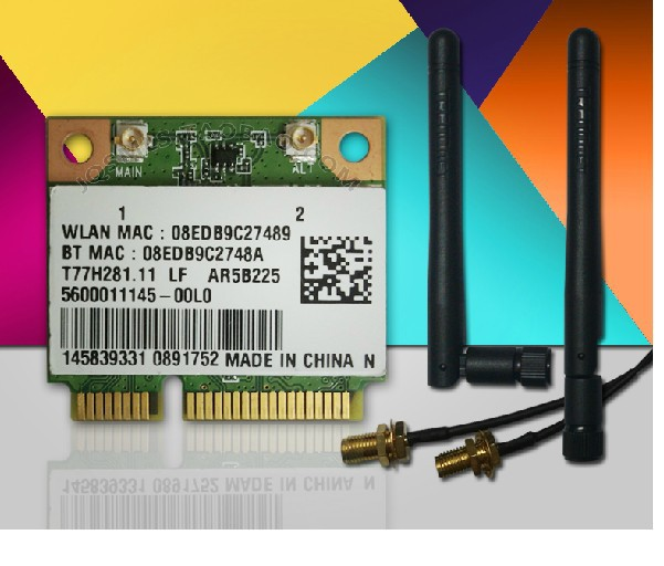 New Wireless Card with antenna for ATHEROS AR5B225 300Mbp MINI PCI-E Card WiFi + Bluetooth 4.0(China (Mainland))