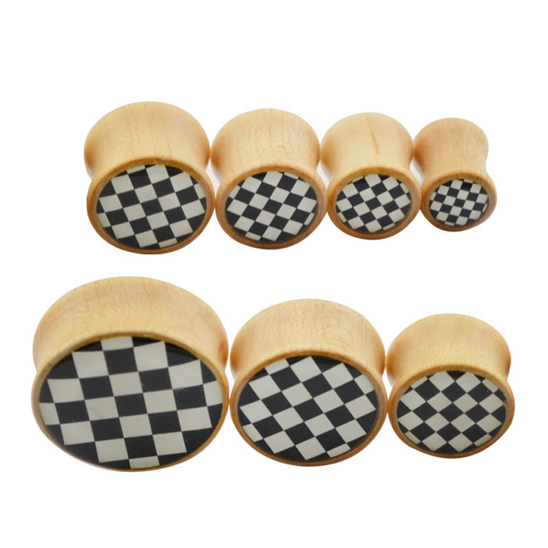 8 25mm font b Chequered b font Pattern Wood Plugs Ear Stretchers Punk Style Tunnel Piercing