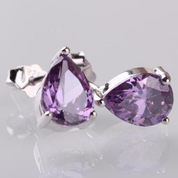SILV NEW 2014 Purple Earrings S925 Sterling Silver Earring Stup Earrings Retail Sterling Silver Jewelry Free Shipping