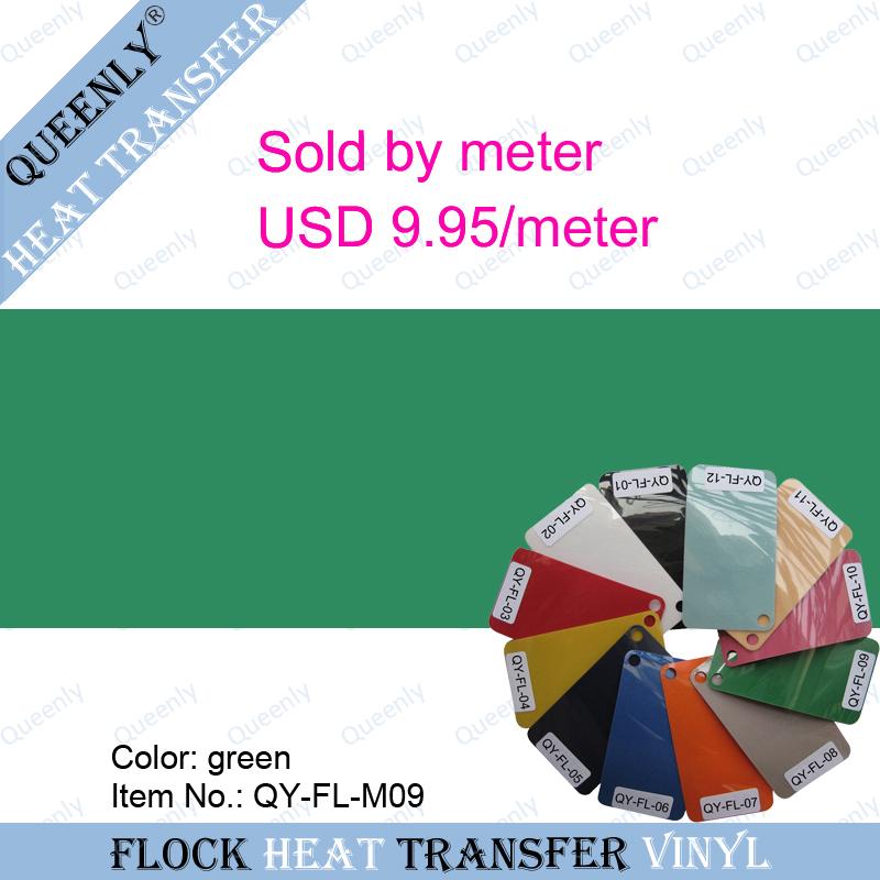 Green flock heat transfer vinyl flock heat transfer film sold by meter 5 meters/pack width 50cm(China (Mainland))