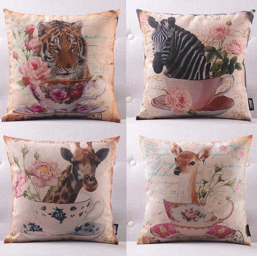 Cushion cover creative floral teacup series pillow case  : Cushion cover creative floral teacup series pillow case zebra tiger giraffe rabbit bird pillows linen cotton from www.aliexpress.com size 827 x 823 jpeg 203kB