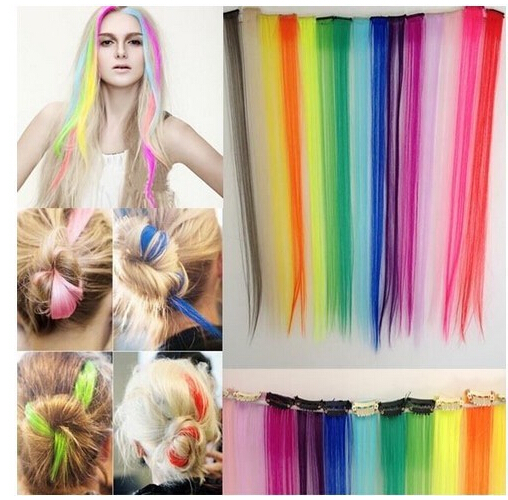 "1 Pcs 24""/60cm Synthetic Hair Extension Hairpiece Long Straight Straight Long Women Hair Extension Color Women Synthetic Hair(China (Mainland))"