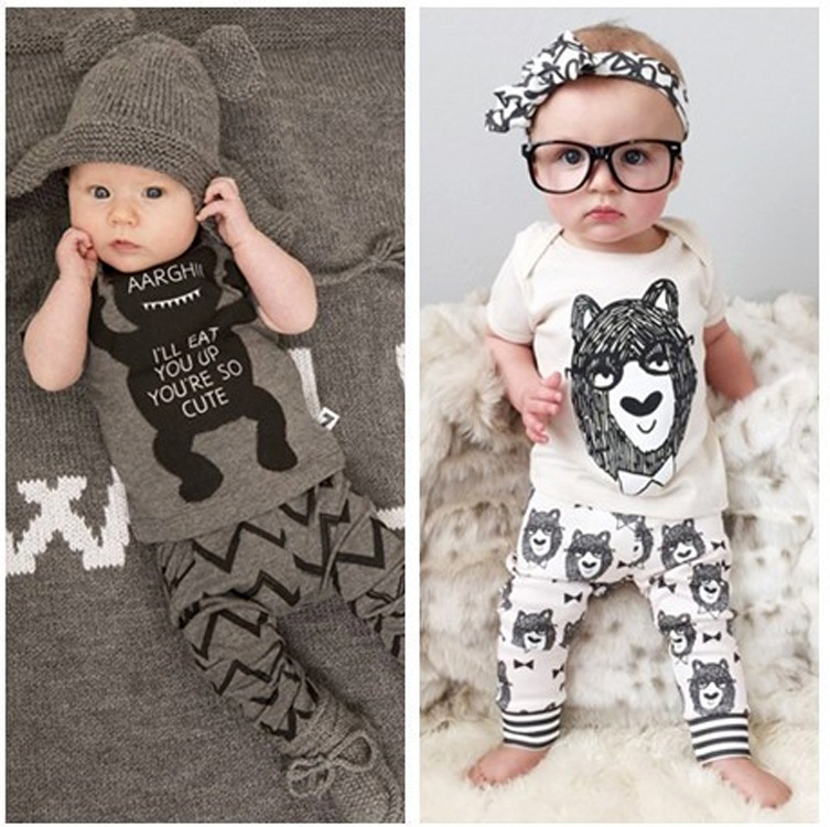 2016 New Fashion Baby Clothing T-shirt+Pants 2pcs Baby Girl Clothes Cotton Spring Summer Baby Boy Clothes for Newborns(China (Mainland))
