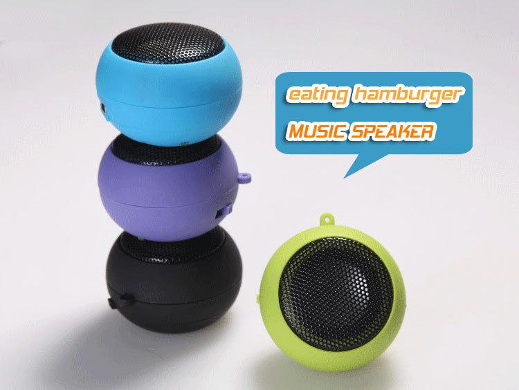 free shipping 5 Colors Portable pocket Mini Hamburger Speaker for iPhone iPad iPod Laptop PC MP3 Audio Amplifier(China (Mainland))