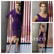 Modest Cap Sleevees Purple Mother Of The Bride Dress With Jacket Formal Cocktail Party Gowns 2016 New Arrival(China (Mainland))